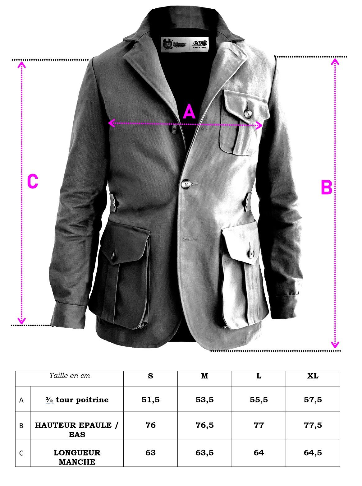 Guide des tailles veste DGR elf francais